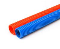 Гофрированные трубы:  красная, синяя